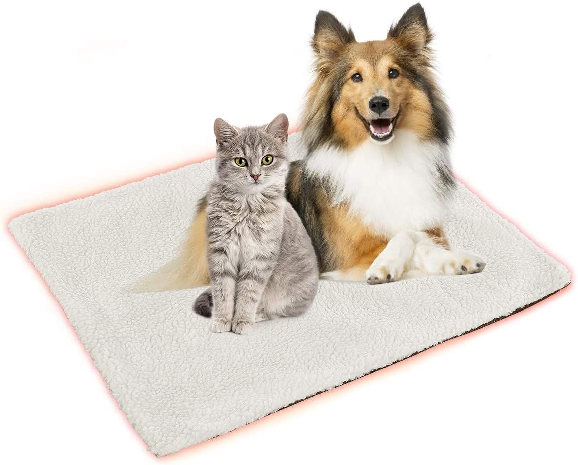 MeiLiMiYu Pet Heating Pad for Dogs and Cats Self-Warming Pet Mat with Lock Heat Tin Foil Cotton Inner and Soft Sherpa Cover