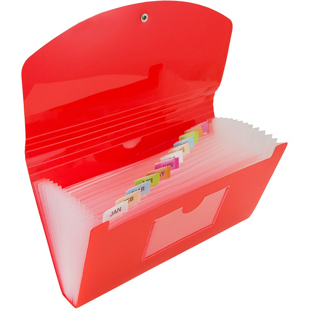 JAM Paper 13 Pocket Expanding File with Button & String Closure - Check Size - 5'' x 10 1/2'' - Red - 144/pack