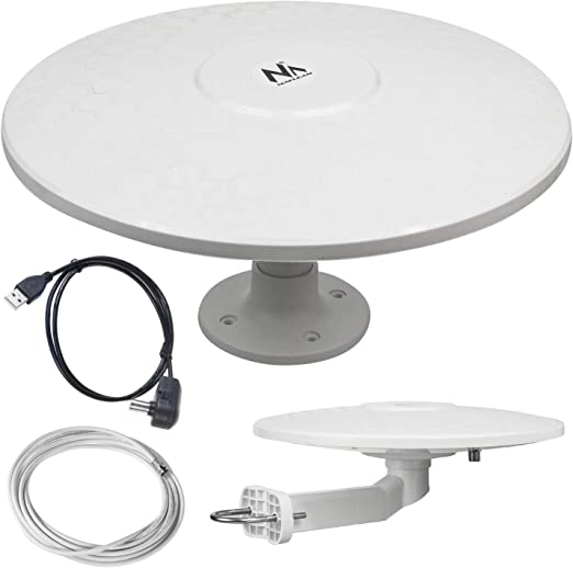 Maclean MCTV-947 - Antena Omnidireccional Exterior Multidireccional, Antena de Televisión Activa (Camper – USB/12/24 V)