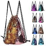 Glitter Sequins Backpack Drawstring Backpack Sackpack Outdoor Shoulder Bag for Travel Shopping Sport (Pink Gold)