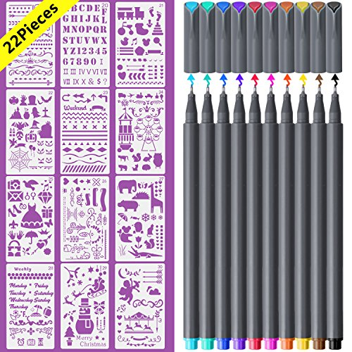 Bullet Journal Stencil and Fineliner Color Pen, 12Pcs Plastic Planner Stencils, 10 Colored Pens for Bullet Journal Planner, Journaling Notebook Scrapbook Christmas Gift Card and Art (4 Color Set Bullet)