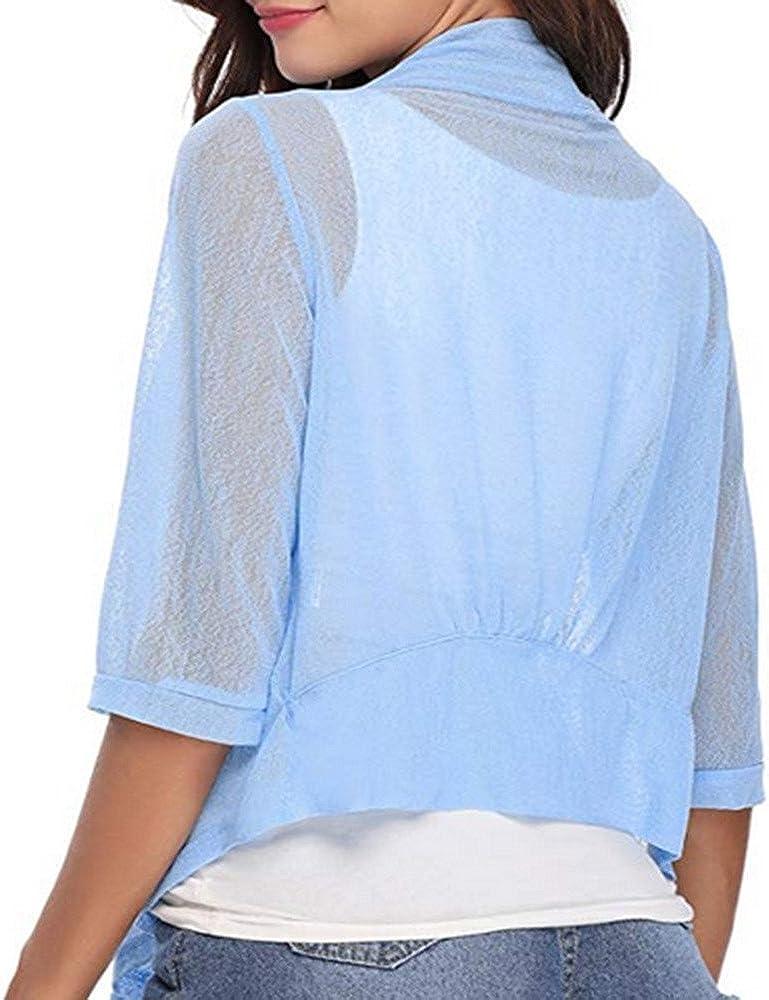 Londony Cardigan Sweaters for Women,Ladies Tie Front 3//4 Sleeve Jacket Sheer Shrug Cropped Bolero Cardigan
