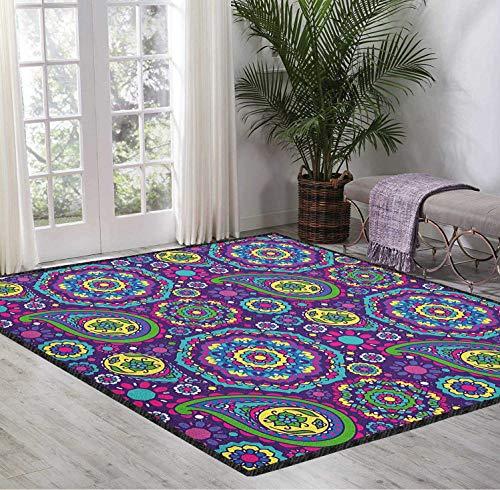 Carpet Pad Purple Mandala 3D Pattern Digital Printing Ethnic Paisley Leaves with Asian Flower Figures in Vibrant Tones Boho Print Multicolor 5X7 Ft