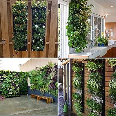 Richoose Vertical Hanging Garden Planter with 7 Pockets, New Upgrade Waterproof Wall Mount Planter Pouch Solution: Garden & Outdoor