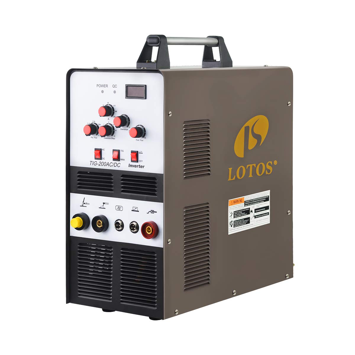 Lotos TIG200ACDC 200A AC/DC Aluminum Tig Welder with DC Stick/Arc Welder, Square Wave Inverter with Foot Pedal and Argon Regulator 110/220V Dual Voltage Brown by LOTOS