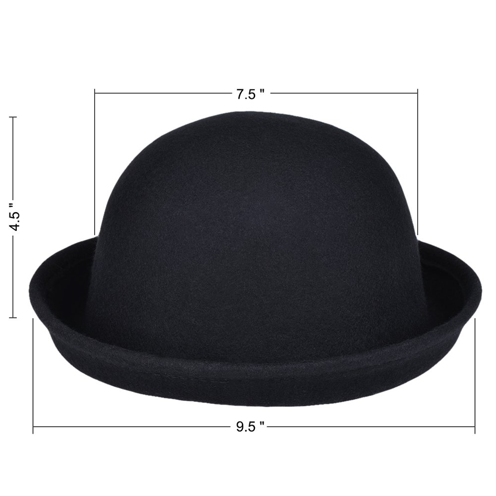 19ccf60bb57 VBIGER Bowler Hat Fedora Hats Winter Roll-up Brim Derby Hats for Women (New  Black) at Amazon Women s Clothing store