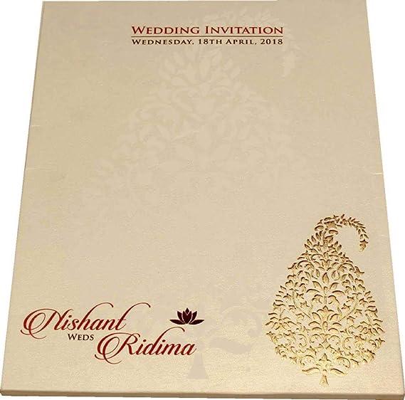 Wow Whistles Of Wedding Semi Box Wedding Cards White 10 8 Set Of 100 Pieces Amazon In Home Kitchen
