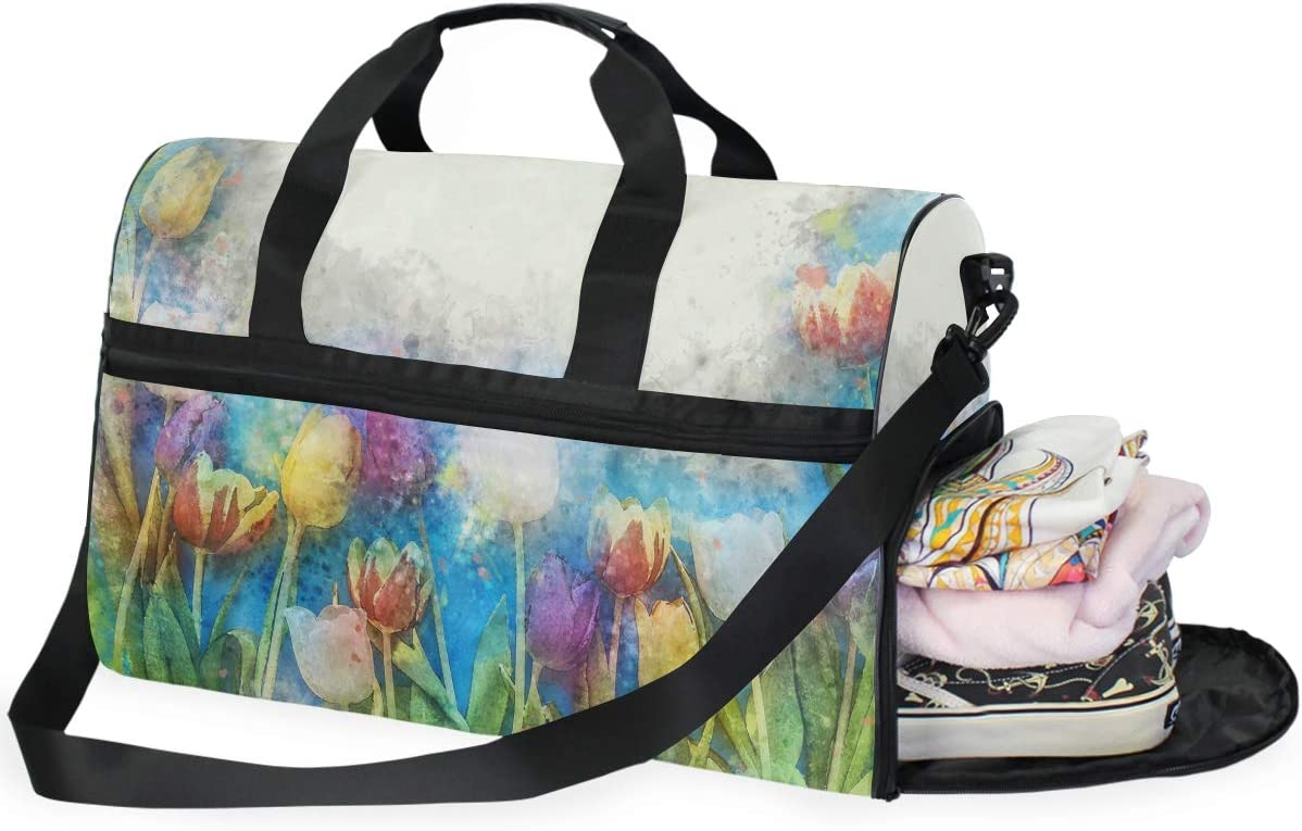 MUOOUM Watercolor Flower Painting Large Duffle Bags Sports Gym Bag with Shoes Compartment for Men and Women
