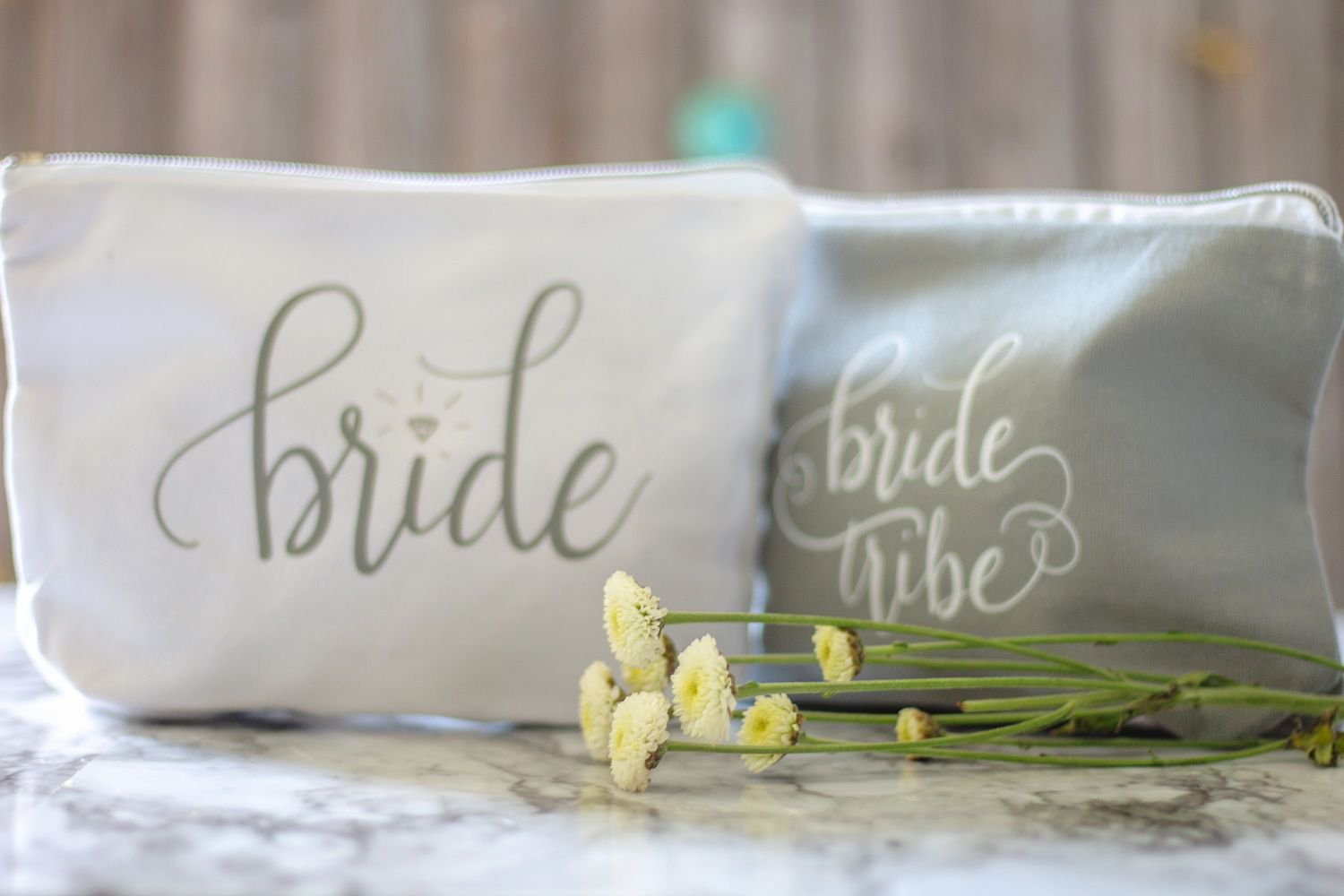 11 PIECE SET of Grey Bride Tribe and Bride Canvas Makeup Bags for Bachelorette Parties, Weddings and Bridal Showers!