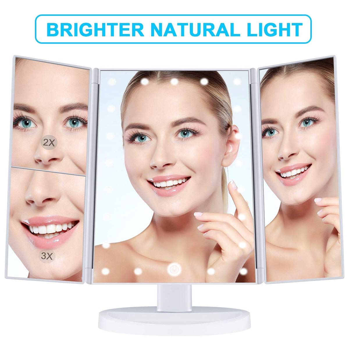 Liuy Makeup Mirror 22 Led Vanity Mirror with Lights, 1x 2x 3x Magnification, Touch Screen Switch, 180 Degree Rotation, Dual Power Supply, Portable Trifold Makeup Mirror White