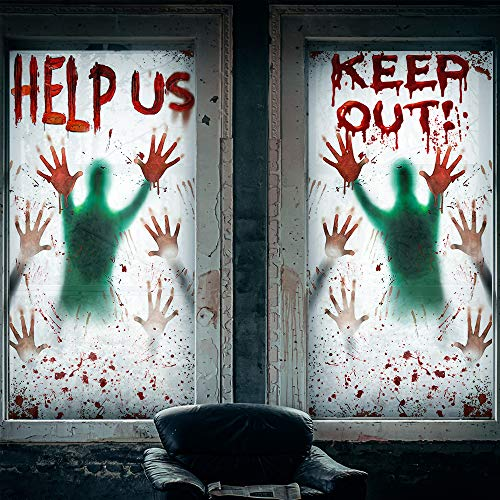 2PCS Halloween Window Clings, Giant Bloody Halloween Stickers for Window,Halloween Decorations Indoor Haunted House Door Cover Creepy Party Decorations for Home/School
