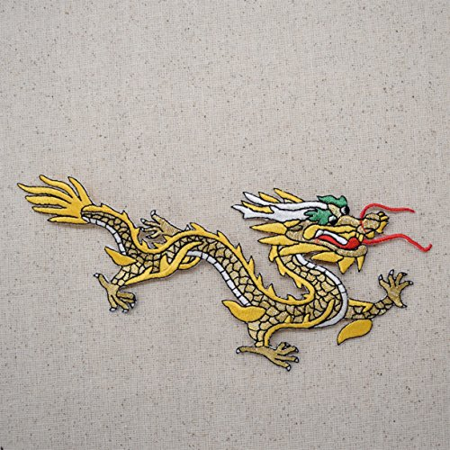 ing Right - Yellow/Gold - Iron on Applique/Embroidered Patch (Embroidered Dragon Patches)