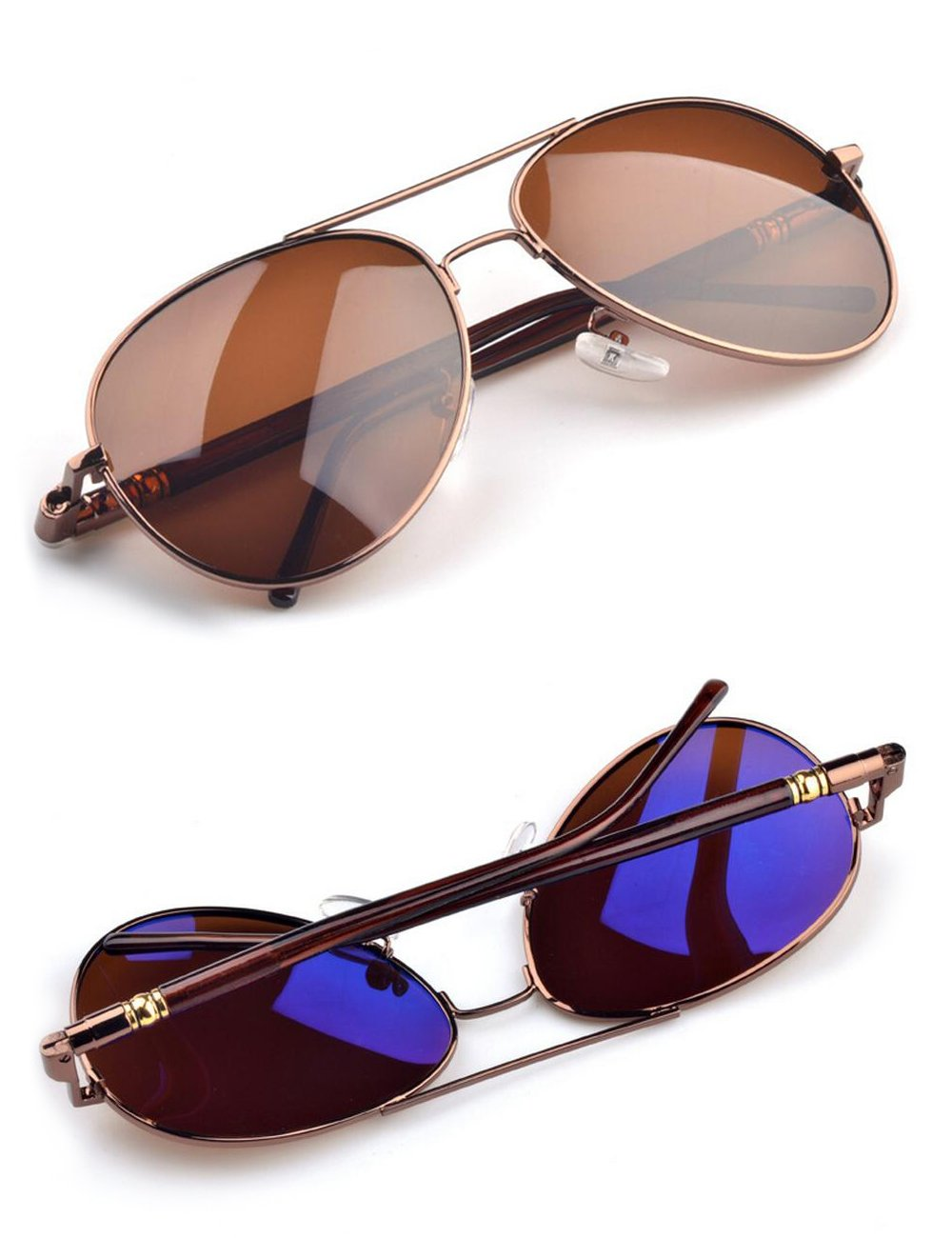 IALUKU Classic Aviator Polarized Sunglasses Pilot Cylindrical Temple UV400 Lens (Brown / Brown, 57)