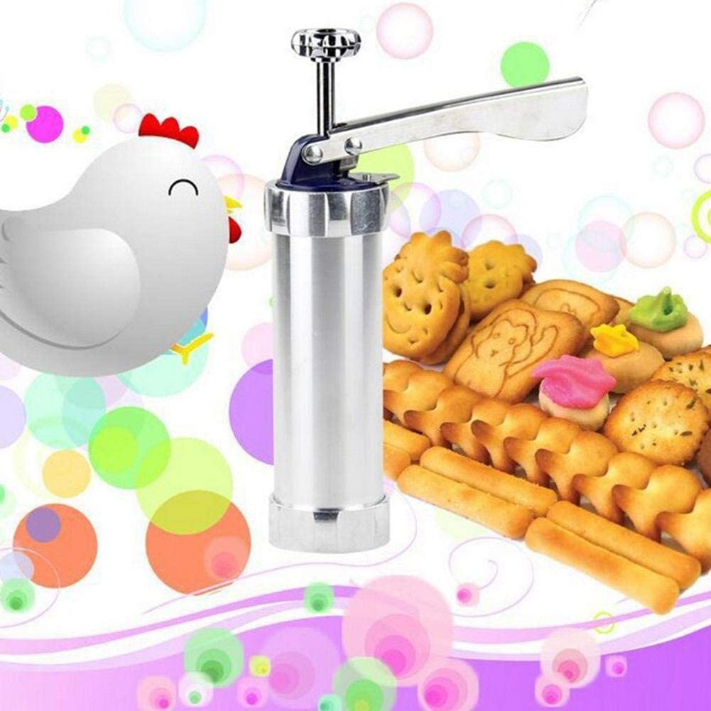 Biscuit Machine DIY Household Stainless Steel Tube Extrusion Stencil Machine 20 Flower Chip Cookie Cutters Manual Maker Press with 20 PCS Moulds
