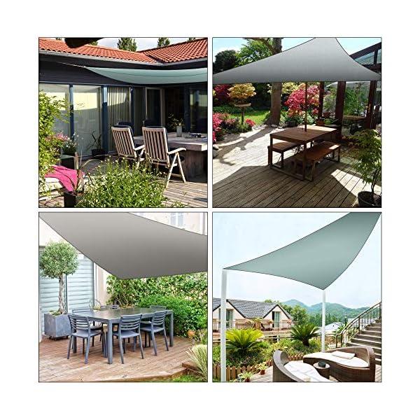 61dyUMawWqL Molbory Sonnensegel Dreieckig mit Befestigungsseile 4x4x4 m, Sonnensegel Sonnenschutz UV Schutz Windschutz Wetterschutz…