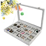 Wuligirl Ice Velvet 24 Grid Jewelry Box Removable Display Jewlry Case Clear Top New With Lock Stackers (24 Grid)