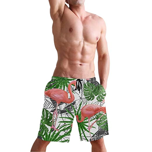 STDKNSK9 Mens Red Hibiscus and Palm Leaves Board Shorts Beach Shorts No Mesh Lining