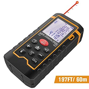 DBPOWER Digital Laser Measure 197FT/ 60M, Laser Distance Meter with Backlit LCD Screen, Single-distance Measurement/Continuous Measurement/Area/Pythagorean Modes (60M2)