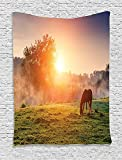 Farmhouse Decor Collection, Arabian Horses Grazing on Pasture at Sundown in Sunbeams Carpathians Ukraine Europe Image, Bedroom Living Room Dorm Wall Hanging Tapestry, Green