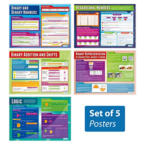 Data Representation Posters - Set of 5 | Classroom Posters for Computer Science | Gloss Paper Measuring 33 x 23.5, School Posters for The Classroom, Educational Wall Charts, by Daydream Education