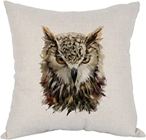 Moslion Owl Pillow,Home Decor Throw Pillow Cover Watercolor Cool Owl Head Cotton Linen Cushion for Couch/Sofa/Bedroom/Livingroom/Kitchen/Car 18 x 18 inch Square Pillow case