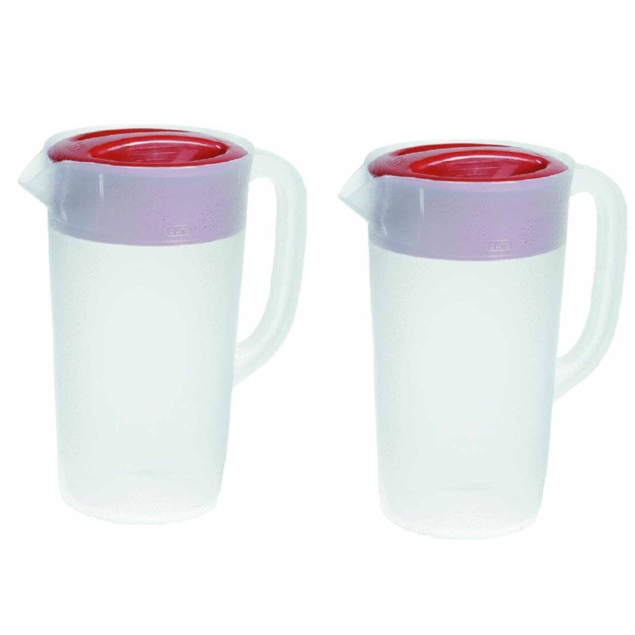 Rubbermaid Covered Pitcher 2.25 Qt - White with Red Cover Pack of 2