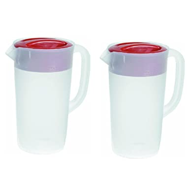 Rubbermaid 30621-4 798837755681 Pitcher 2.25 Qt-White with Red Cover Pack of 2, 2 Pack