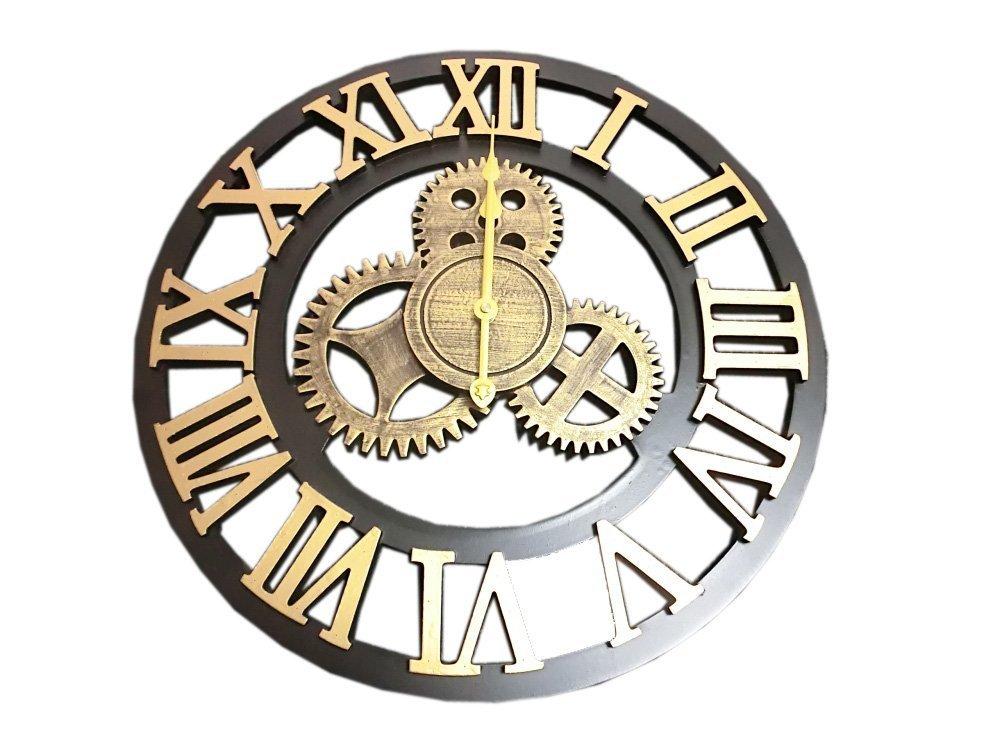 GREEM MARKET(グリームマーケット) 壁掛け時計 掛け時計 ウォール クロック 歯車風 時計 ゴールド 大きい 50cm インテリア ブルックリン アンティーク 文字盤 英数字 品番:GMS01325(ゴールド) B077NTWD5Cゴールド