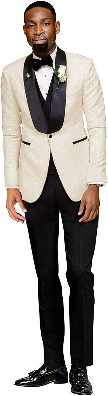 YZHEN Hombre Traje Chal de Solapa de un Solo botón Chaleco Pantalones Pantalones