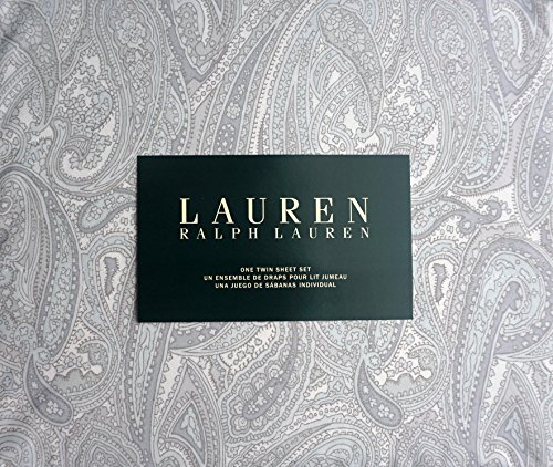 Lauren Ralph Lauren 3 Piece Cotton Twin Size Sheet Set Light Pale Blue Gray Paisley Pattern on White