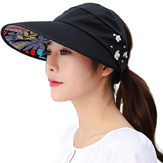 Amazon.com  Lanzom Women Wide Brim UV Protection Summer Sun Hat Beach Visor  Cap UPF 50+(A-Black)  Beauty b3f070e20573