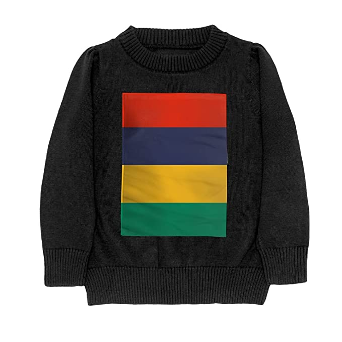 DTMN7 Flag of Mauritius Teens Sweater Long Sleeves Crew-Neck Youth Athletic Casual Tee Junior Boys