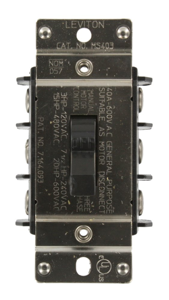 Leviton MS403-DS 40 Amp, 600 Volt, Three-Pole, Three Phase AC Motor Starter, Suitable as Motor Disconnect, Industrial Grade, Non-Grounding, Black
