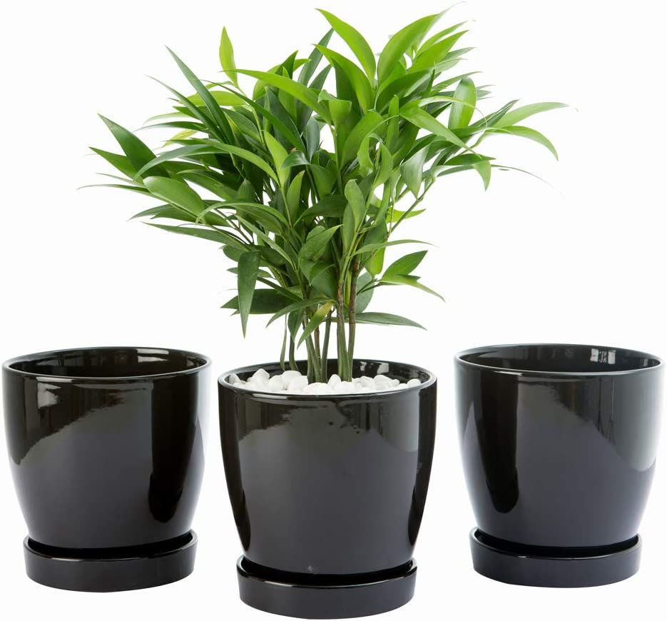 """BUYMAX Plant Pots–4.7""""Glazed Ceramic Flower Pot with Drainage Holes and Ceramic Tray - Gardening Home Desktop Office Windowsill Decoration Gift Set 3 - Plants NOT Included"""