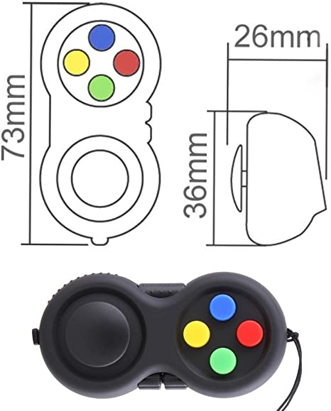 Fidget Mise Au Point Jouet pour Soulager Le Stress Classic Controller Game Pad avec 8 Fidget Fonctions Longe