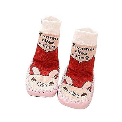 Auxma calcetines de dibujos animados para niños resbalón de los niños zapatos de bebé botas zapatillas