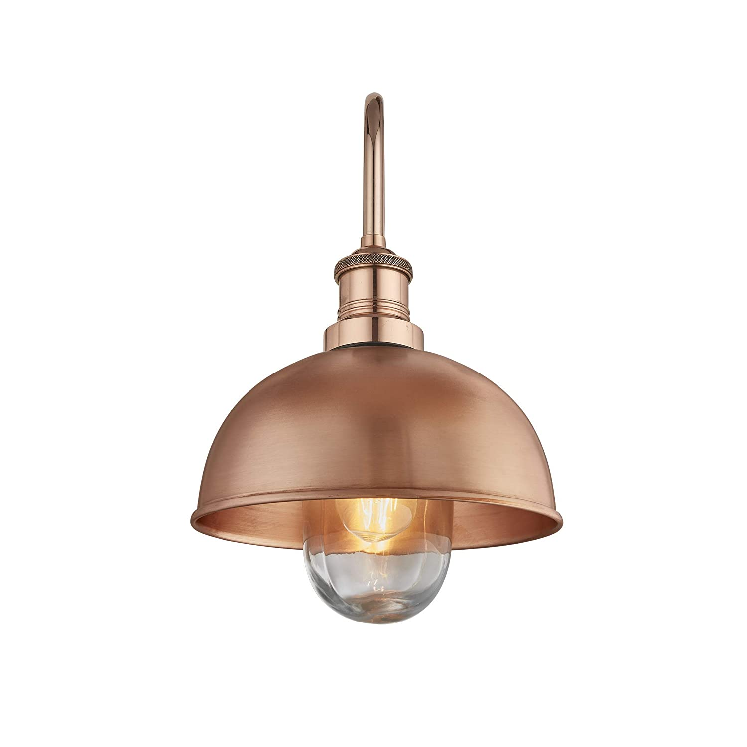 Industville 8 Inch Outdoor /& Bathroom Swan Neck Dome Wall Light Copper//Pewter Material Water /& Weather Proof