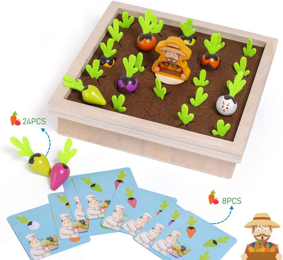 YOKOSO Pull Up The Radish Wooden Pretend Play Food Vegetables Fruits Color Sorting Learning Education Toys
