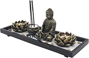 DharmaObjects Zen Garden Buddha Statue Lotus Tea Light Candle and Incense Holder Complete Set Home Décor Gift