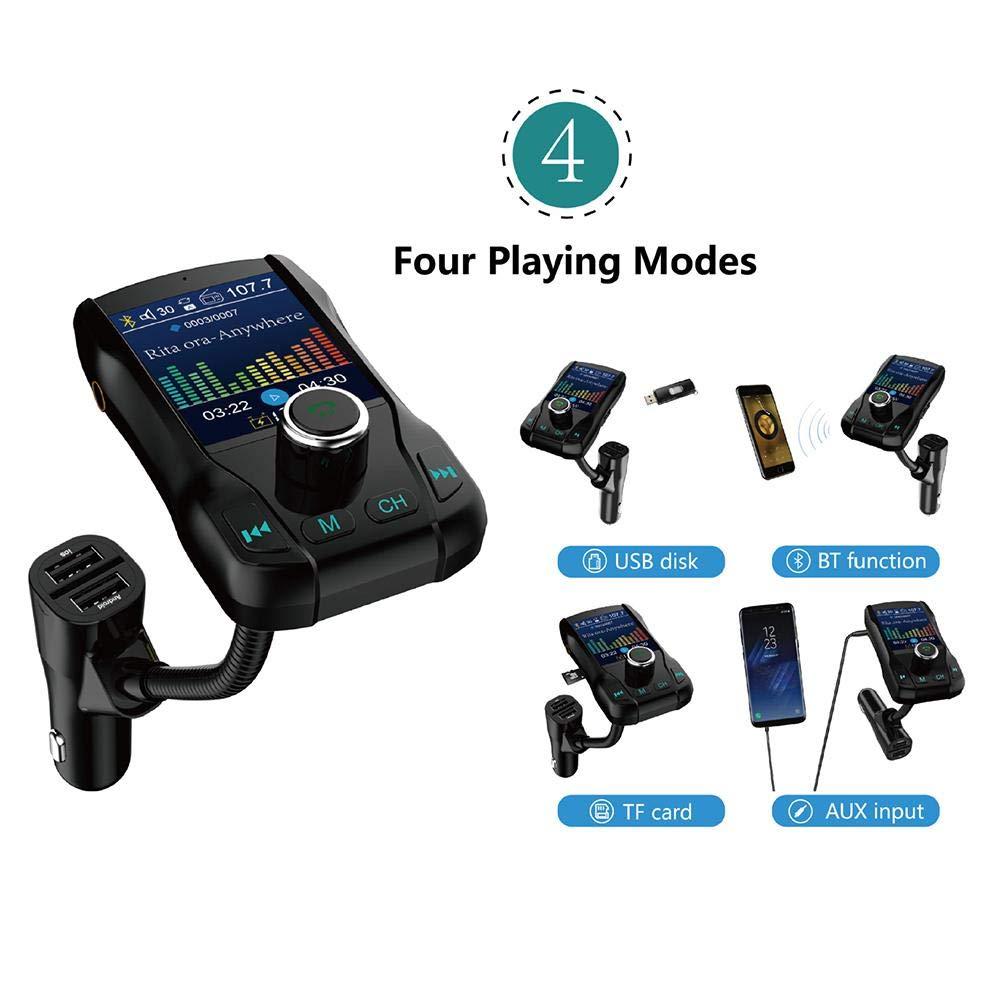 Dadahuam Transmetteur FM Bluetooth pour Voiture sans Fil Adaptateur pour Kit Voiture Double Chargeur USB