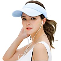 Fasbys Multiple Colors Sun Visors for Women and Men, Long Brim Thicker Sweatband Adjustable Hat for Golf Cycling Fishing…