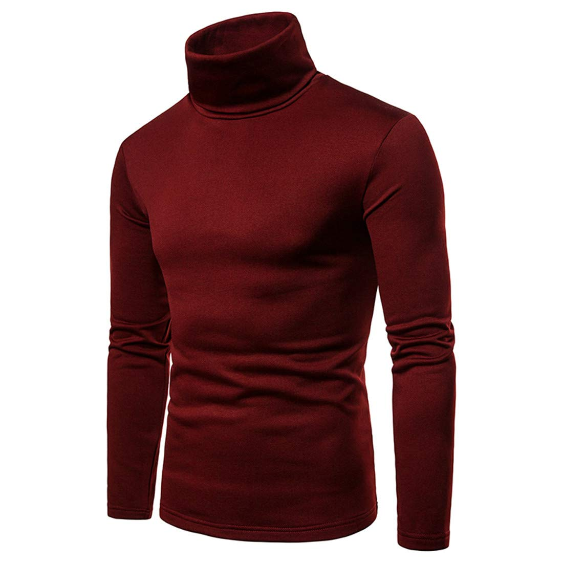 VOGMEM Men Thermal Slim Plus Size Fleece Turtleneck Long Sleeve Solid T-Shirt Tee