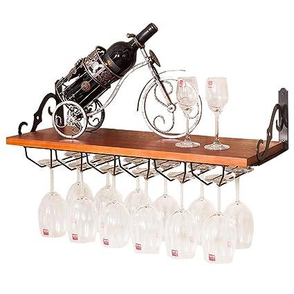Armario para vinos Soporte de pared de madera Estantes del Stemware Patrón de estilo europeo que