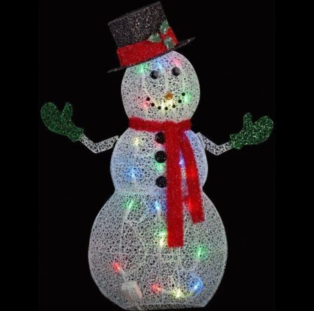 50 in. Crystal Swirl Snowman Lighted Yard Sculpture by Home Depot