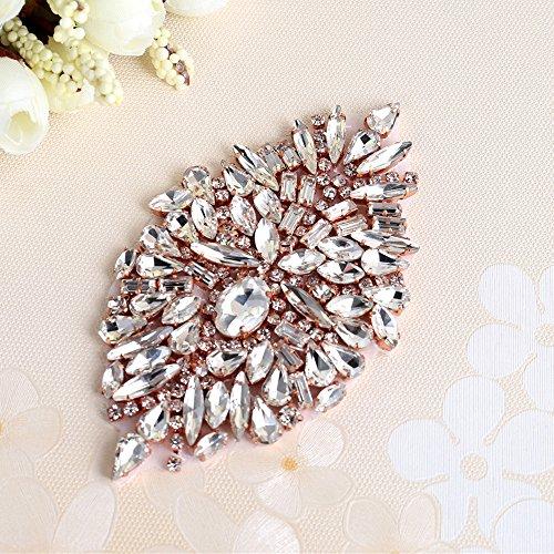 521 Applique Rosa Bolsas para Novia Cristales 2 Rhinestone para Perlas Cinturon Vestido Boda el y piezas con Headpieces Vestido Cinturones Oro SHxEOqR