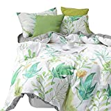 MKXI Duvet Cover Set Tropical Green Leaf Botanical Printed Pattern Soft Cotton Bedding Set Queen Reversible Black and White