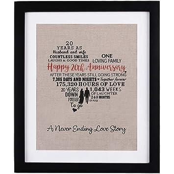 Amazon 20 Years Of Marriage Burlap Art With Frame 20th Wedding
