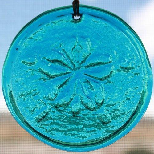 Window Suncatcher Sand Dollar in Light Blue Hanging Glass Suncatcher - 3.25