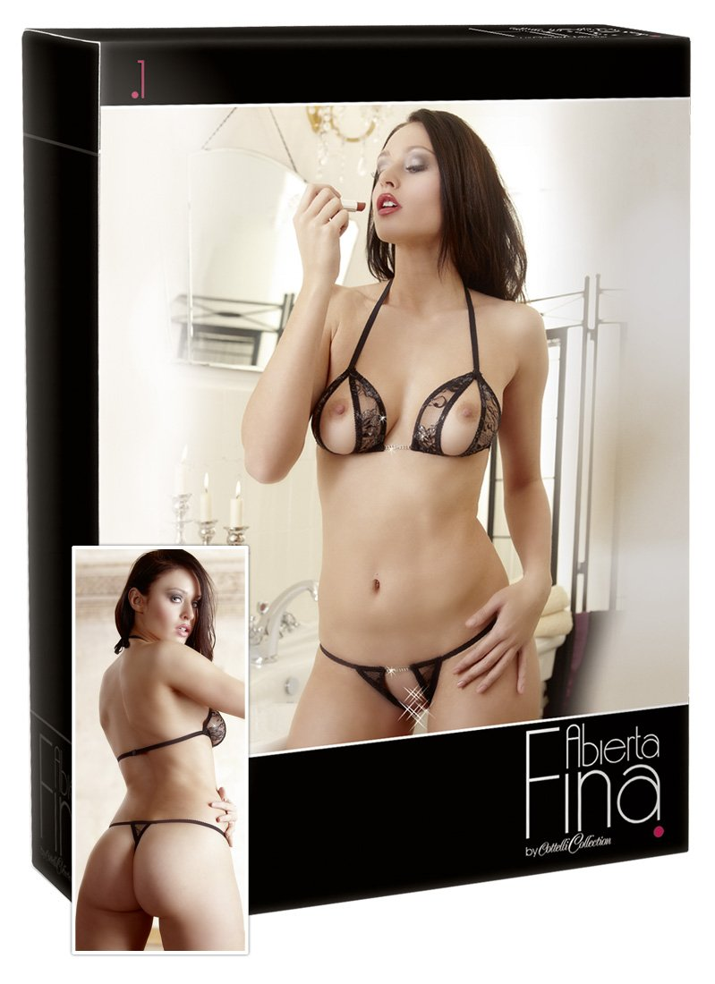544bacc772 Cottelli Collection X-Large Black Abierta Fina Bra and String Set   Amazon.co.uk  Health   Personal Care