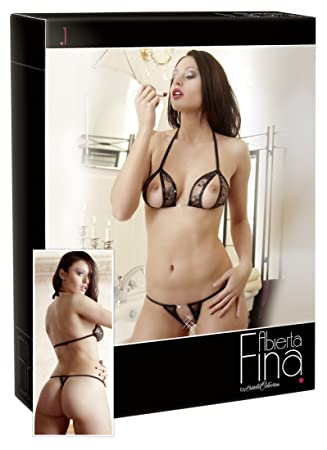 2e8a6d8f75 Cottelli Collection X-Large Black Abierta Fina Bra and String Set ...